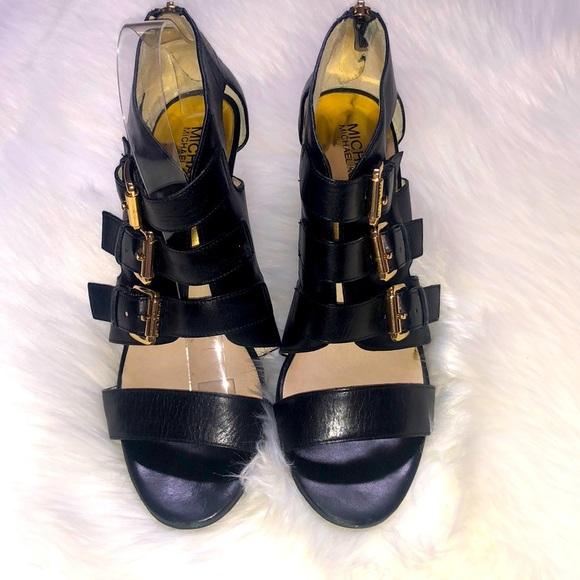 Michael Kors Black Viola Triple Buckle Heel, 9